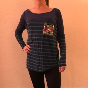 Printed long sleeve cotton top